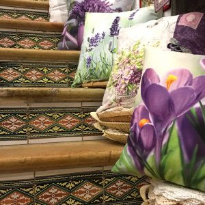 Detail of old staircase with cushions